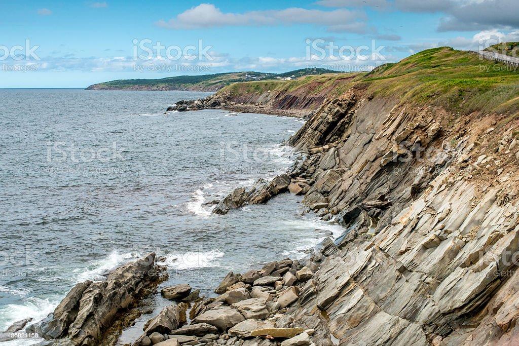 The rocky shoreline of Highlands National Park stock photo