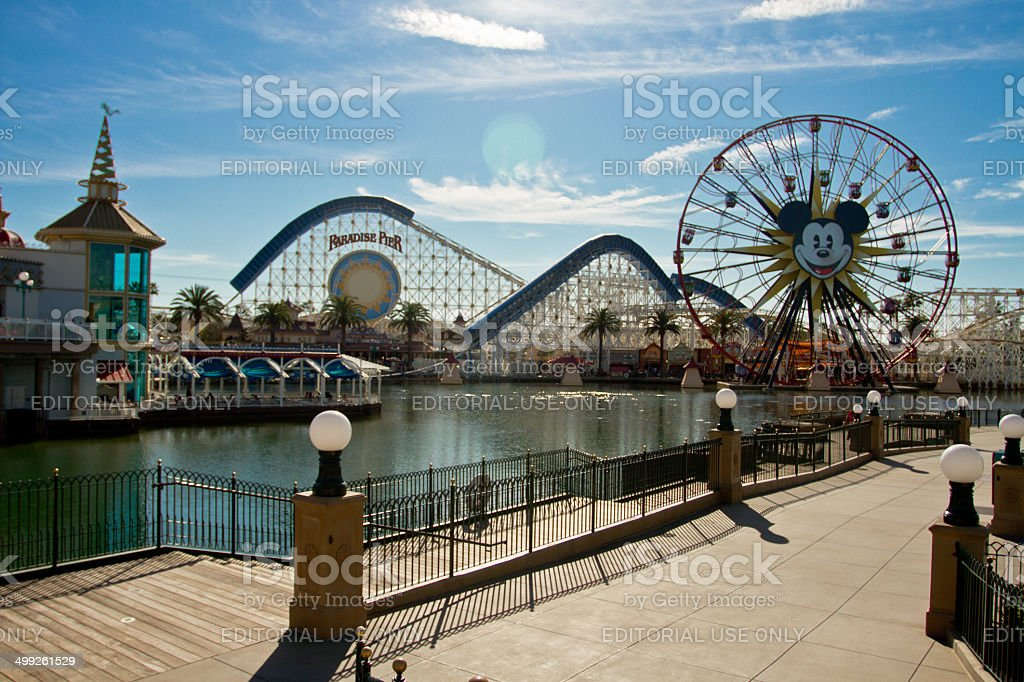 The rollercoaster at the paradise pier in Disneyland. stock photo
