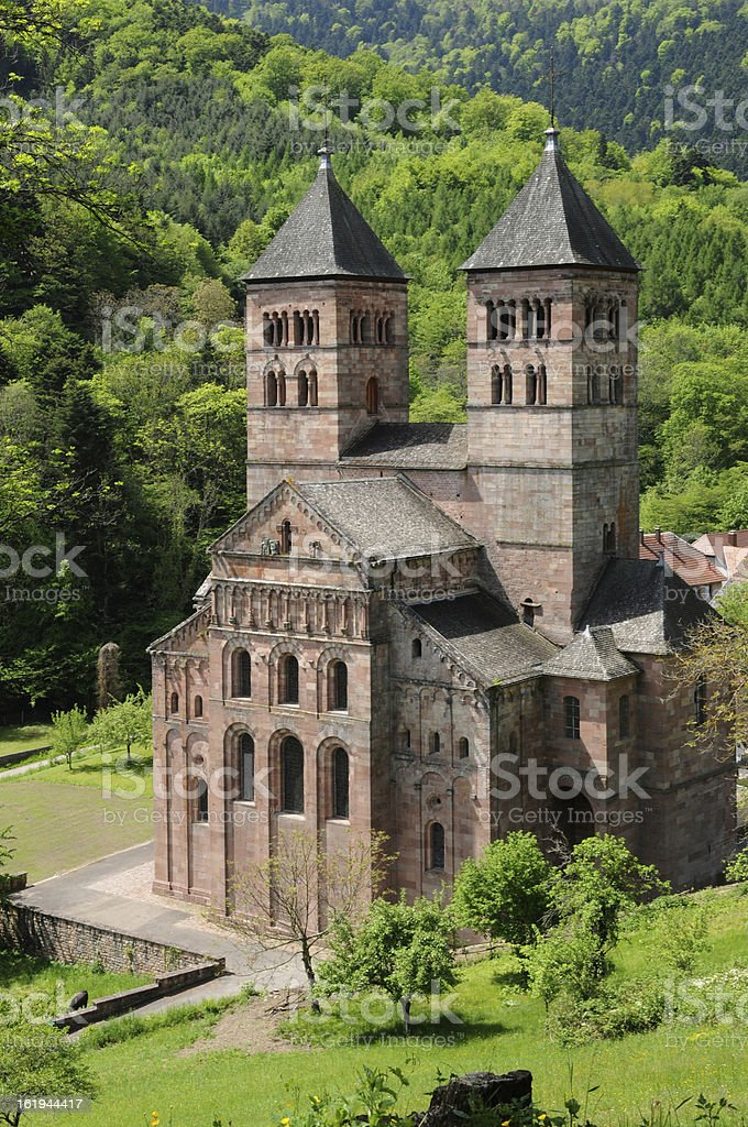 the roman abbey of Murbach in Alsace stock photo