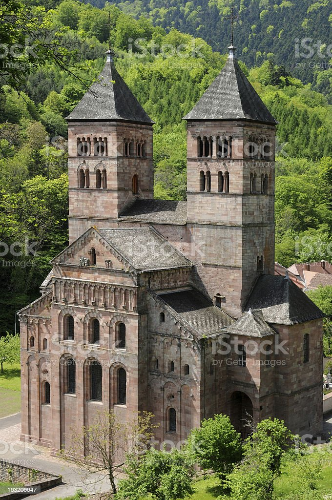 the roman abbey of Murbach in Alsace royalty-free stock photo