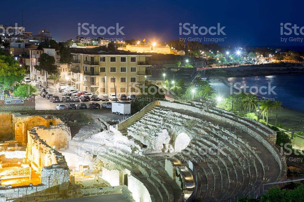 The Roman amphitheater in evening time. Tarragona stock photo