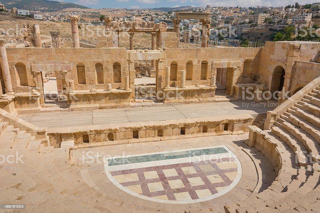 The Roman amphitheatre at Jerash in Jordan. stock photo
