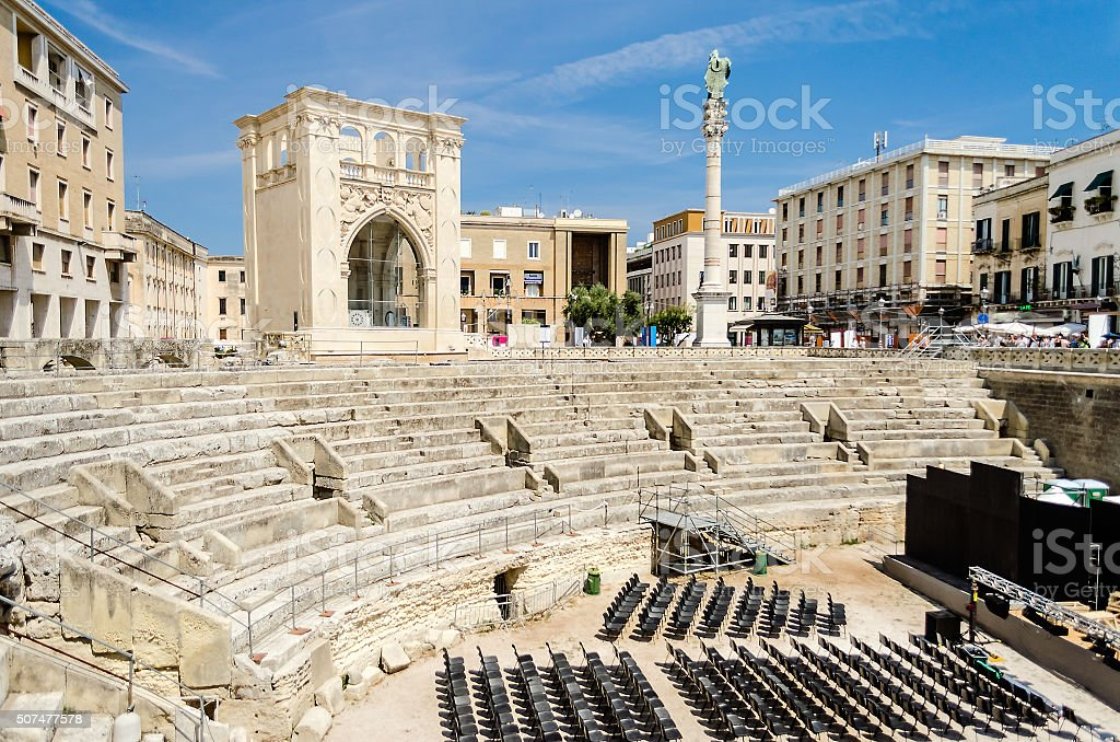 The Roman amphitheatre in Sant'Oronzo square, Lecce, Italy stock photo
