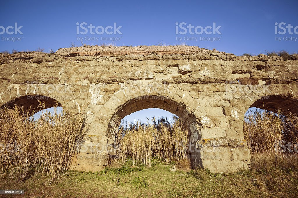 The Roman Aqueduct at Parco degli Acquedotti royalty-free stock photo