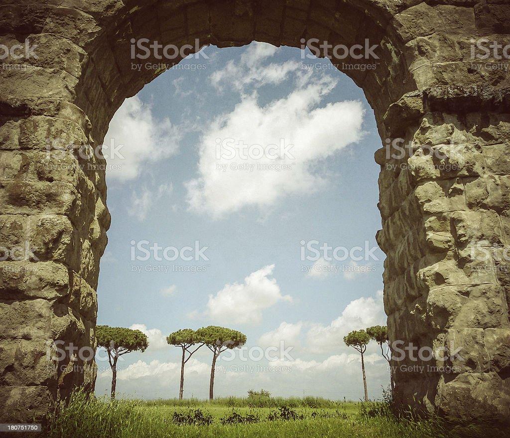 The Roman Aqueduct at Parco degli Acquedotti stock photo
