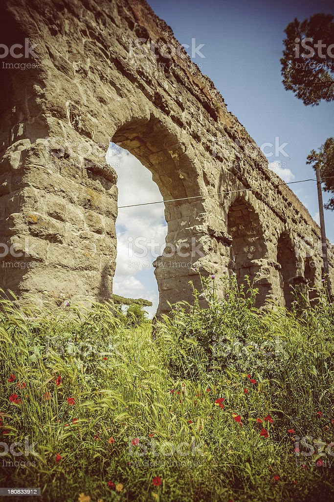 The Roman Aqueduct in Rome royalty-free stock photo