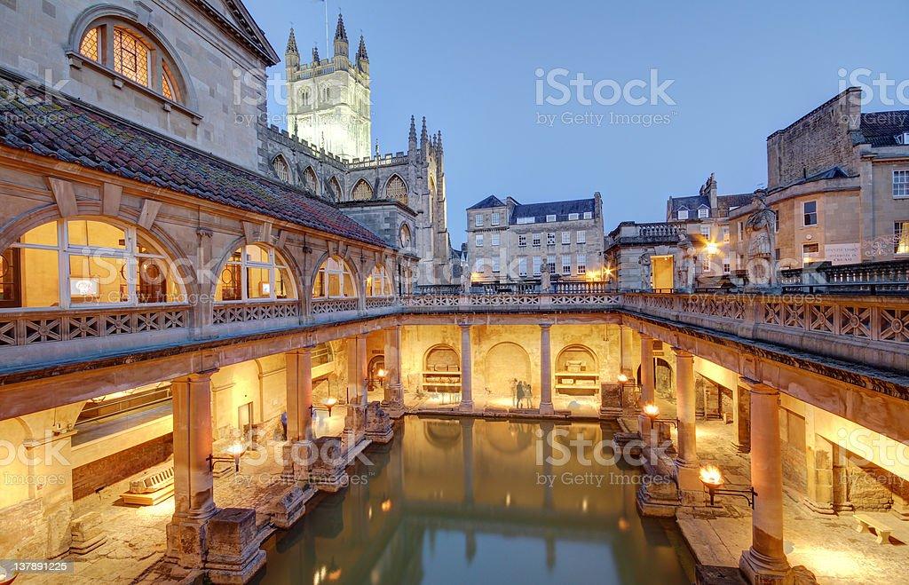 The Roman Baths in Bath, England stock photo