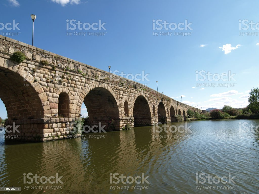 The Roman Bridge at Merida, Spain stock photo