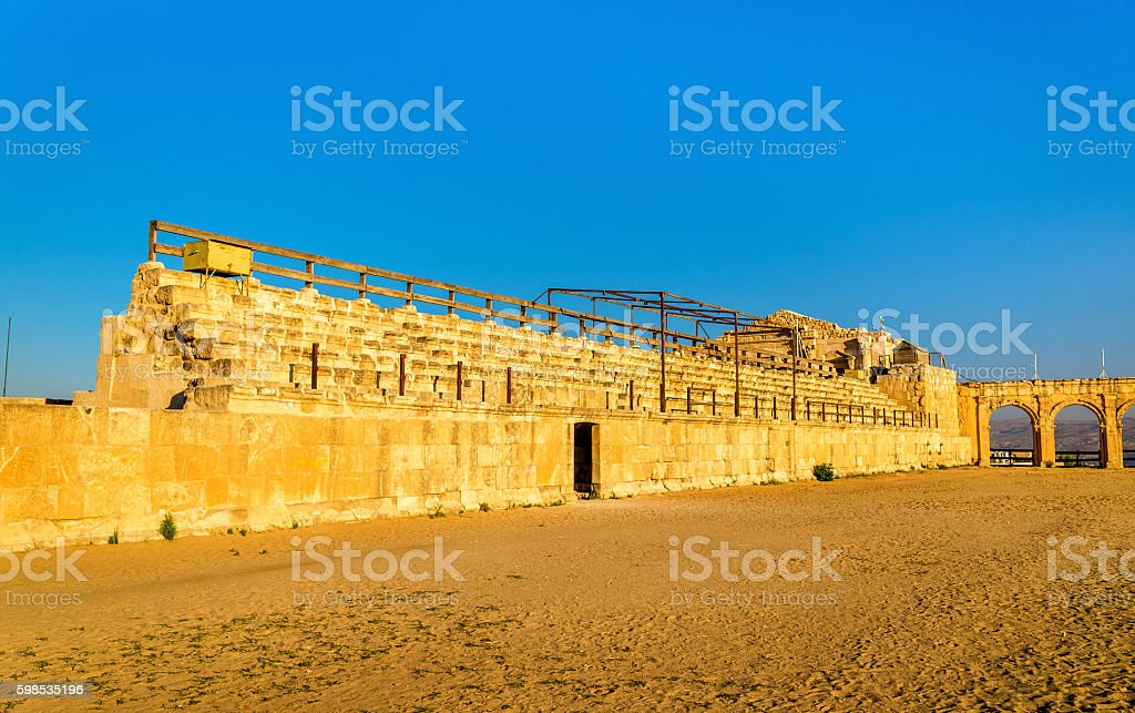 The Roman Circus or Hippodrome in Jerash stock photo