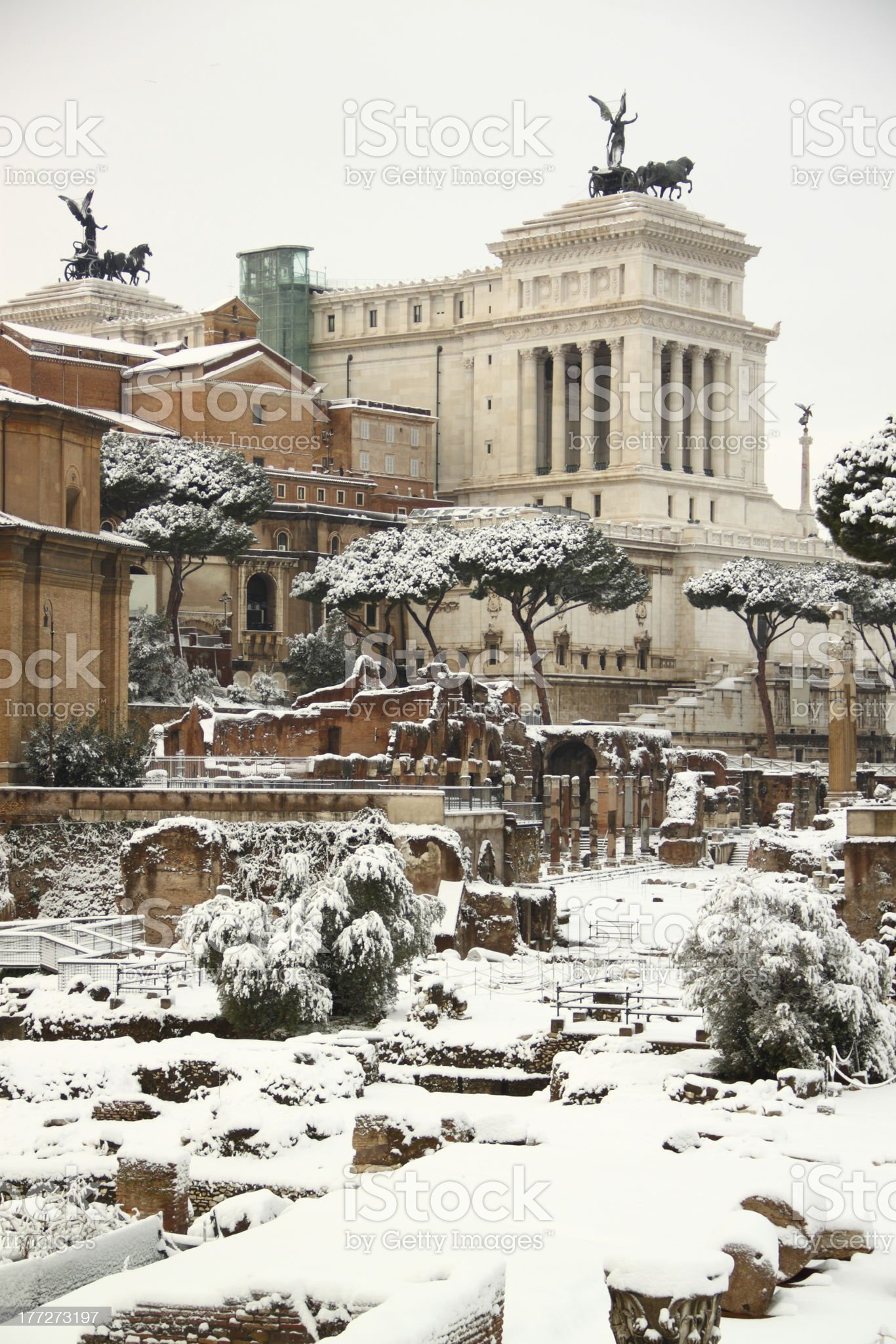 The Roman Forum covered by snow royalty-free stock photo