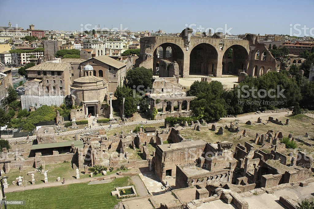 The Roman Forum in Rome, Italy. stock photo