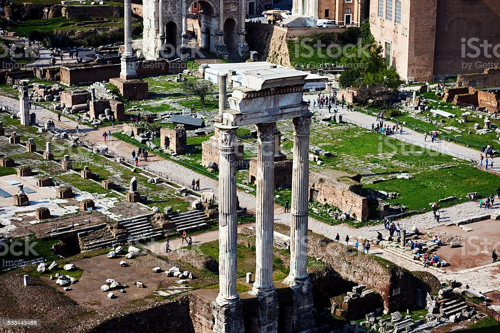 the Roman Forum in summer day stock photo