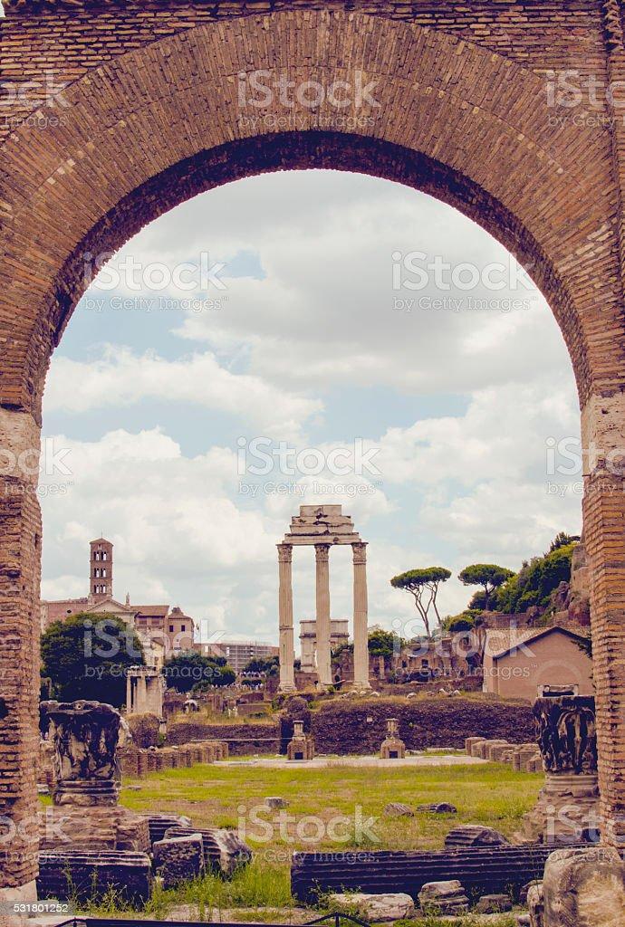 The Roman Forum seen through an arch stock photo