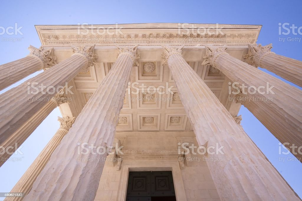 The Roman temple Maison Carree in Nimes, France stock photo