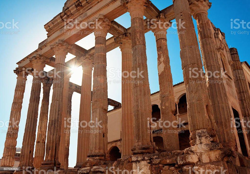 The roman temple of Diana in Merida, Spain stock photo