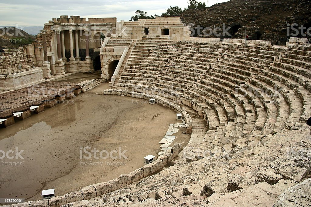 The Roman theater at Bet She 'an Israel stock photo
