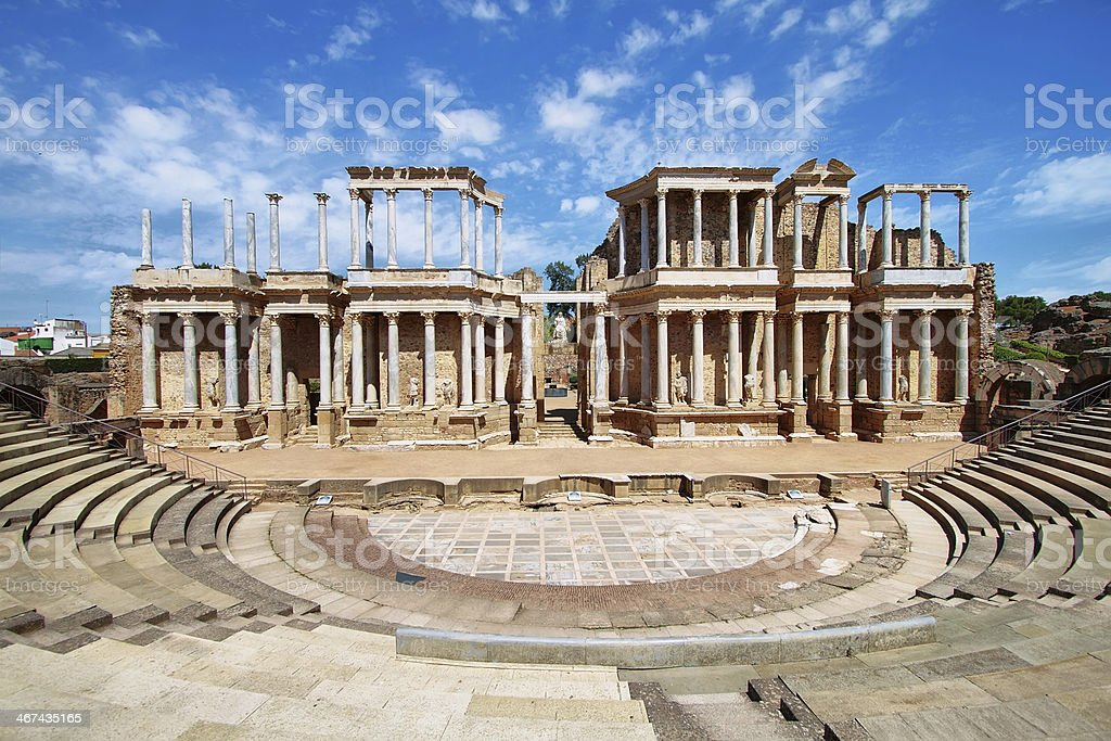 The Roman Theatre (Teatro Romano) at Merida stock photo