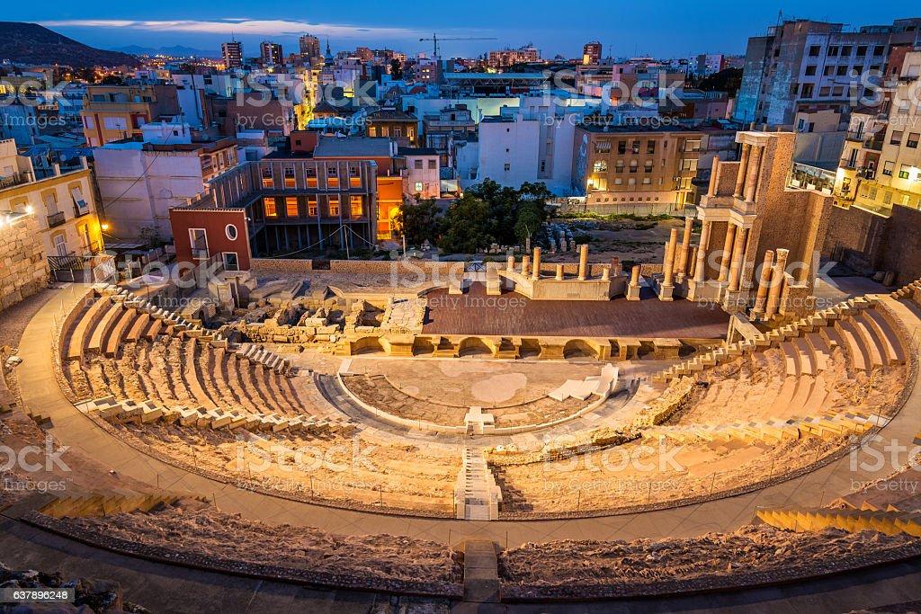 The Roman Theatre in Cartagena, Spain stock photo