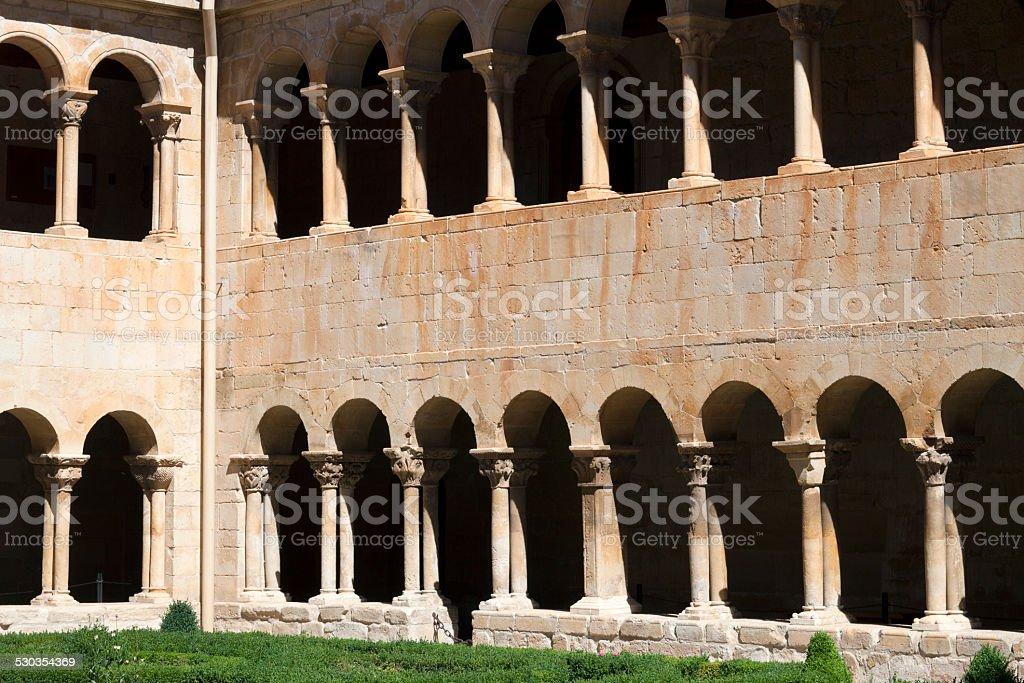 The romanesque cloister of Santo Domingo de Silos, Spain stock photo