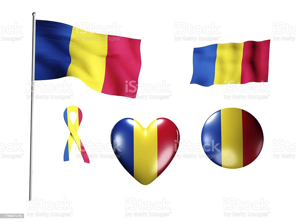 The Romania flag - set of icons and flags royalty-free stock photo