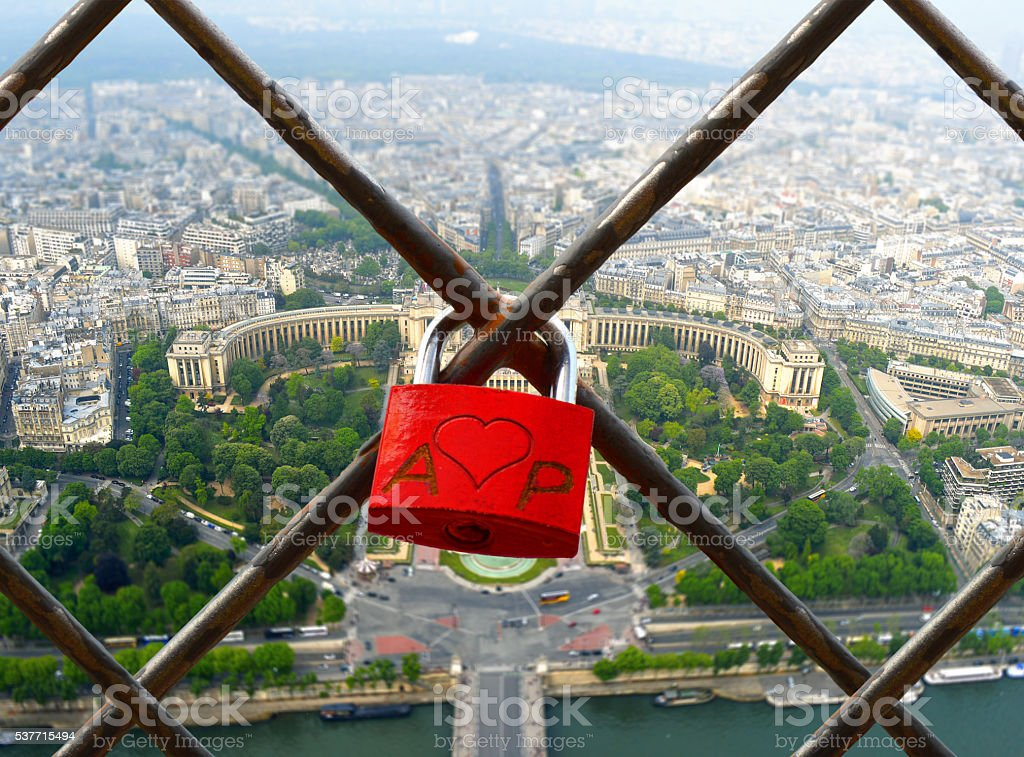 The romantically love inscribed padlocks on the Eiffel Tower, Pa stock photo