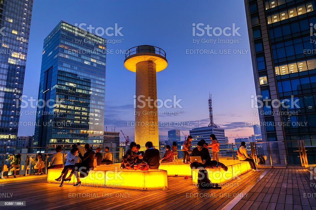 the roof garden of Kitte Marunouchi shopping mall stock photo