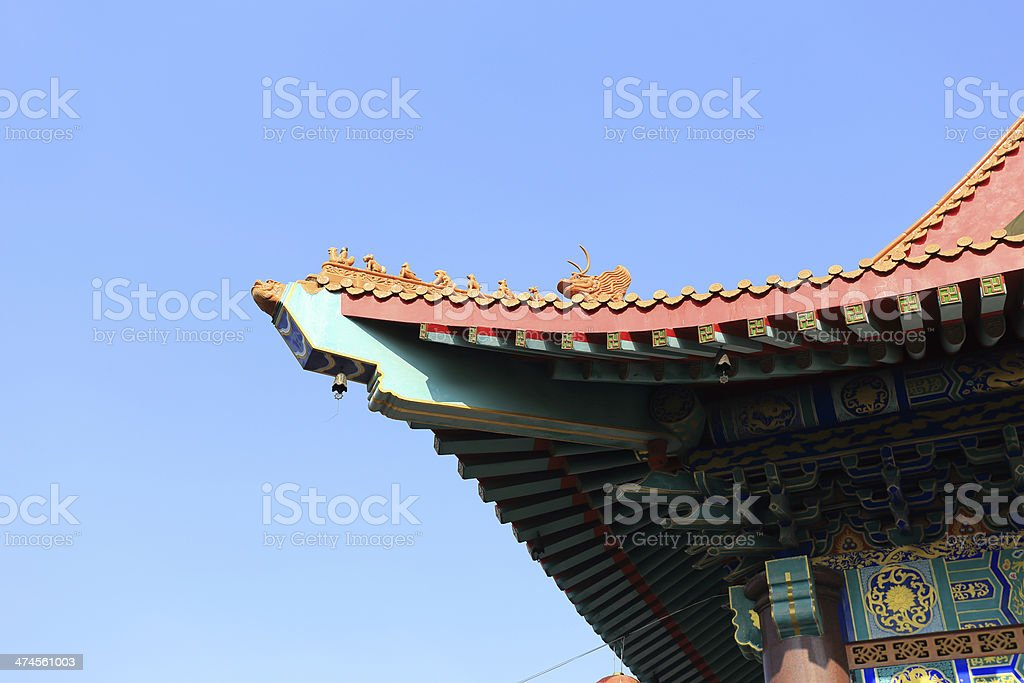The roof of Chinese temple in Thailand stock photo