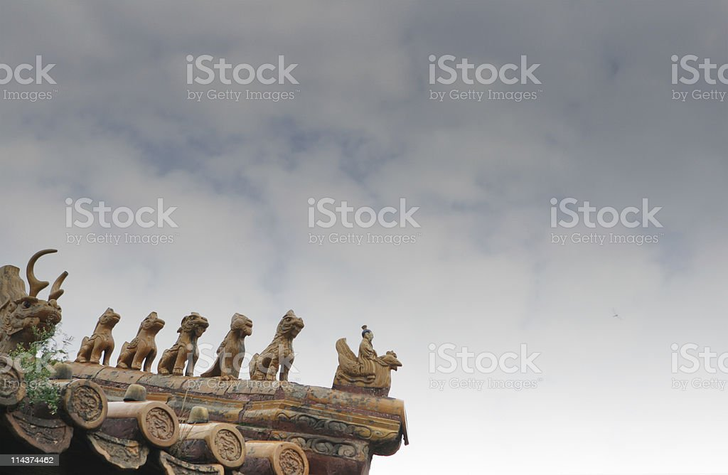 the roof of Forbidden City , Beijing, China stock photo