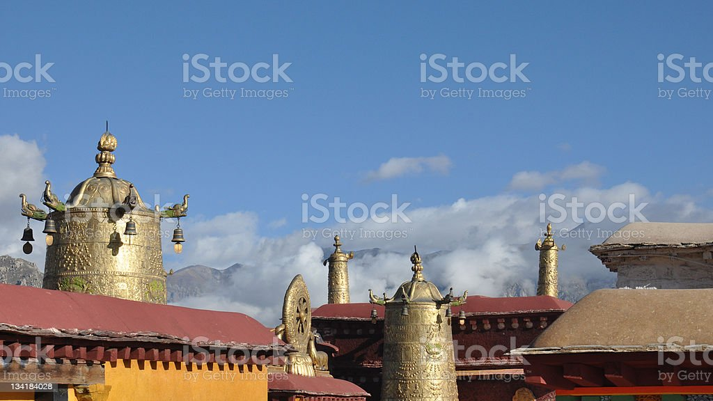 the roof of holy Jokhang Temple royalty-free stock photo
