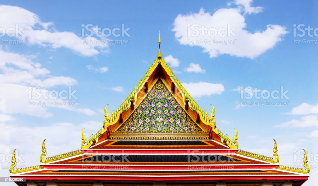 The roof of the chapel in Wat Pho. Bangkok, Thailand. stock photo