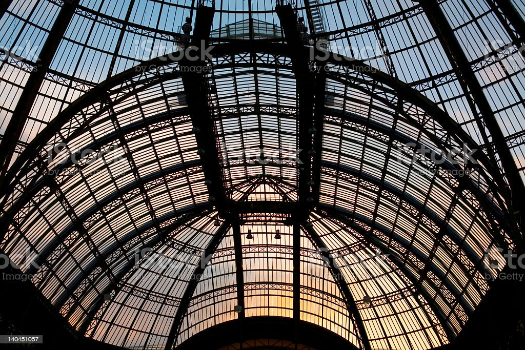 The roof of the Grand Palais at sunset stock photo