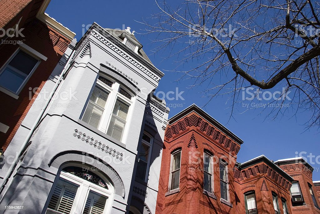 The rooflines of capital hill row houses royalty-free stock photo