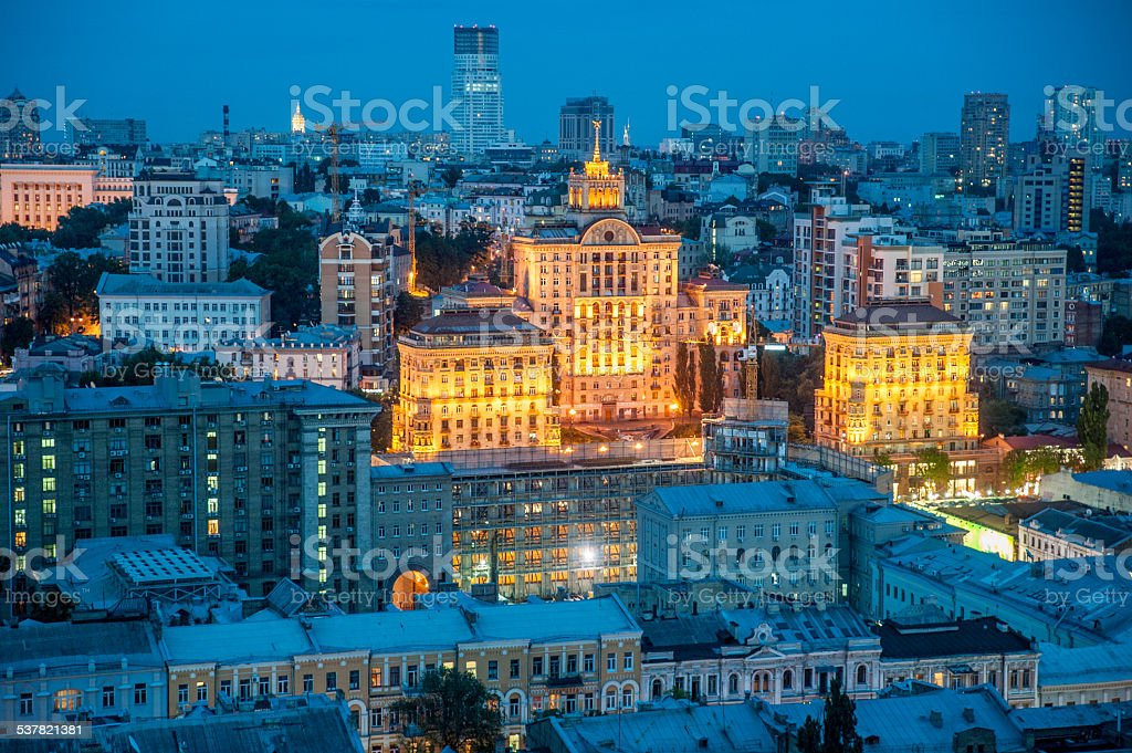 The rooftop view to the Khreschatyk street stock photo