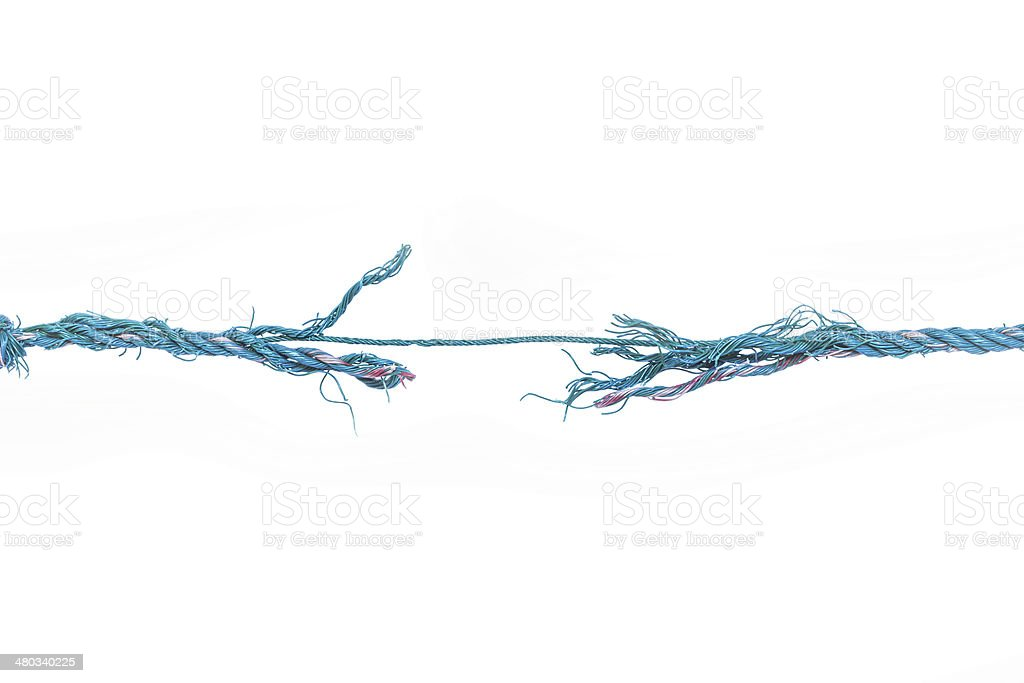 The rope breaks in excess of efforts. stock photo