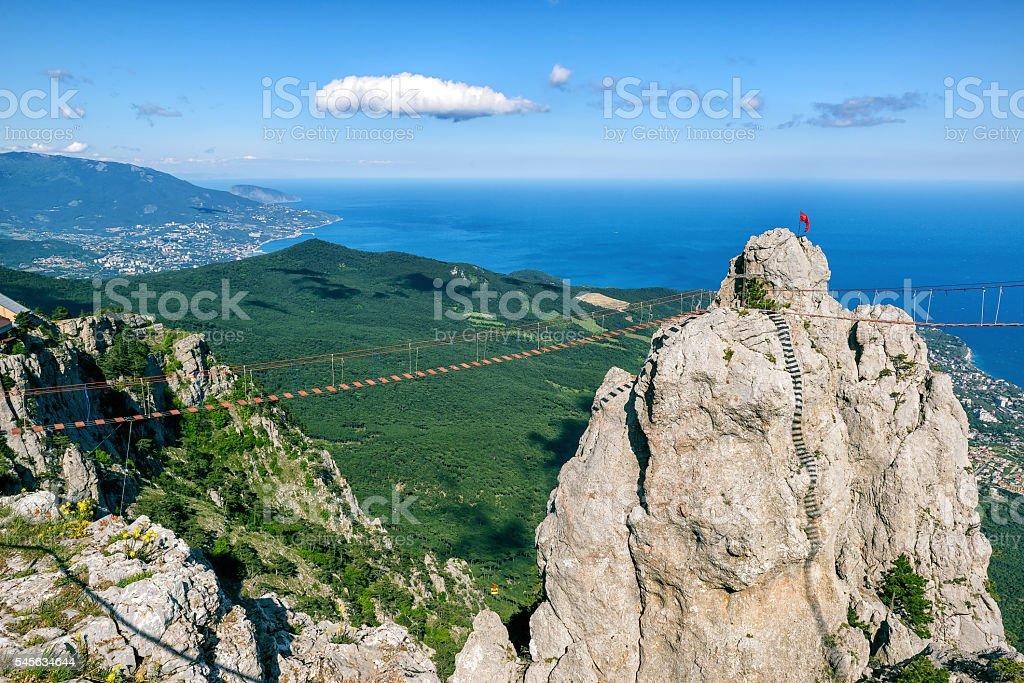 The rope bridge on the Mount Ai-Petri in Crimea stock photo