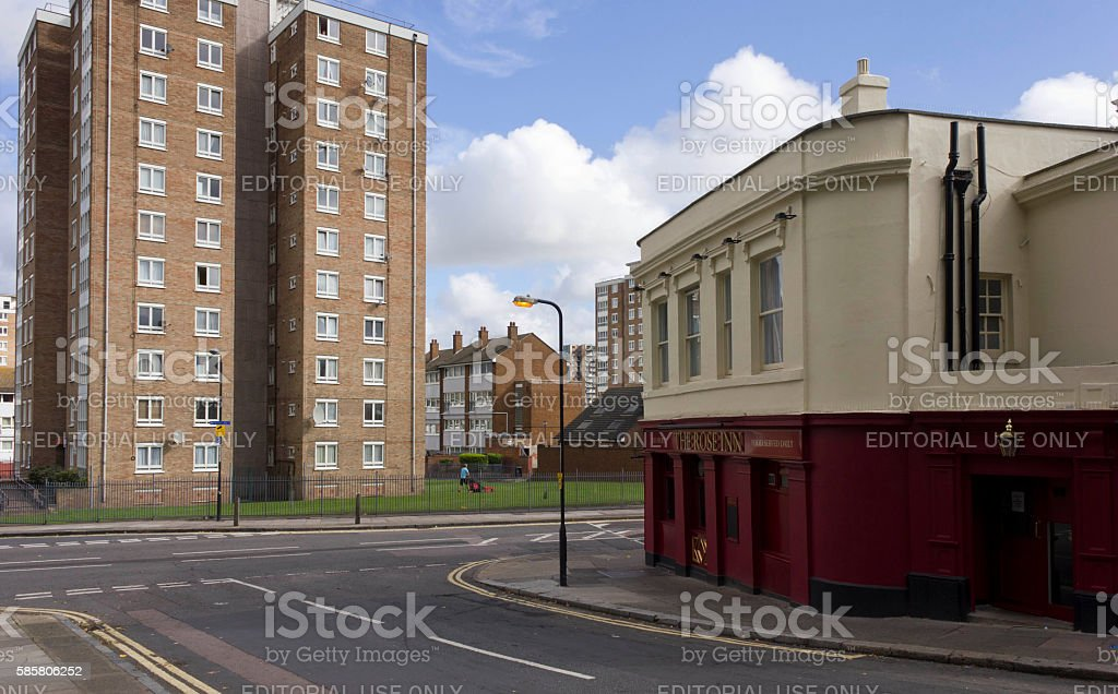 The Rose Inn traditional  pub in London stock photo