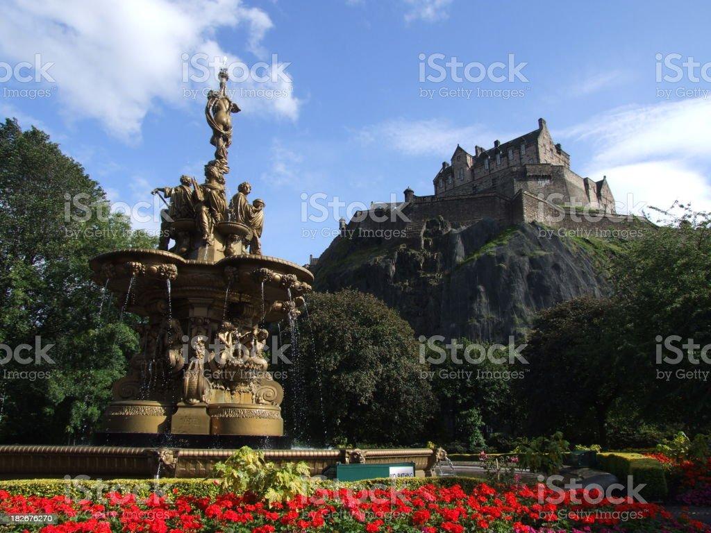 The Ross fountain beneath Edinburgh Castle stock photo