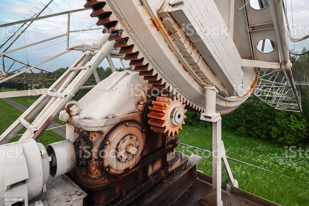The rotating mechanism of the russian radiotelescope to study pulsars. stock photo