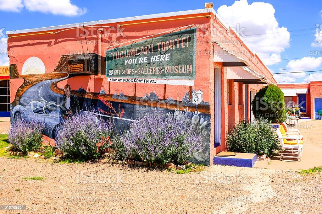 The Route 66 Blue Swallow Motel building in Tucumcari, NM stock photo