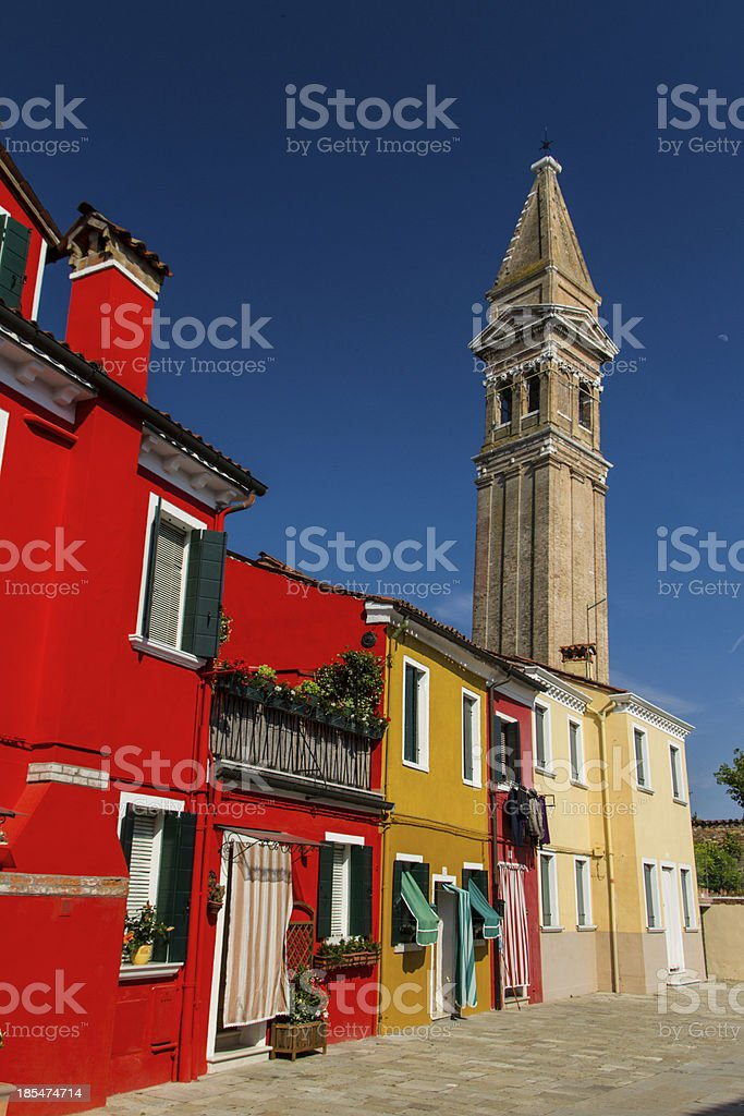 The row of colorful houses in Burano street, Italy. royalty-free stock photo