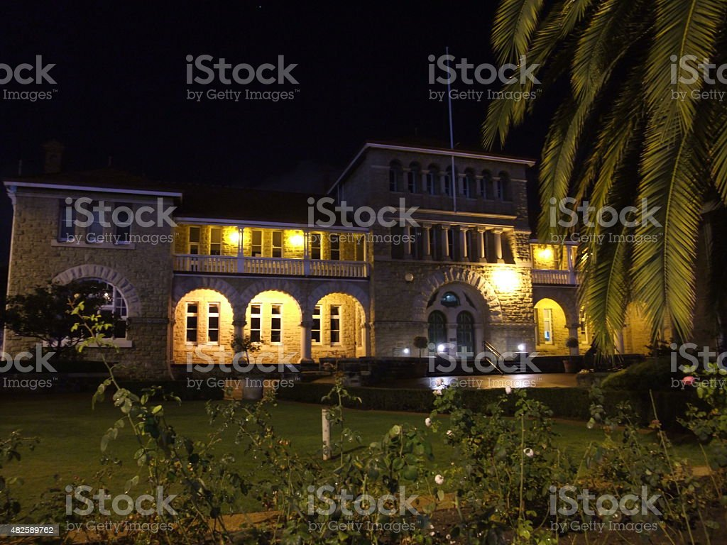 The Royal Australian Mint.Building at night in Perth Western Australia stock photo