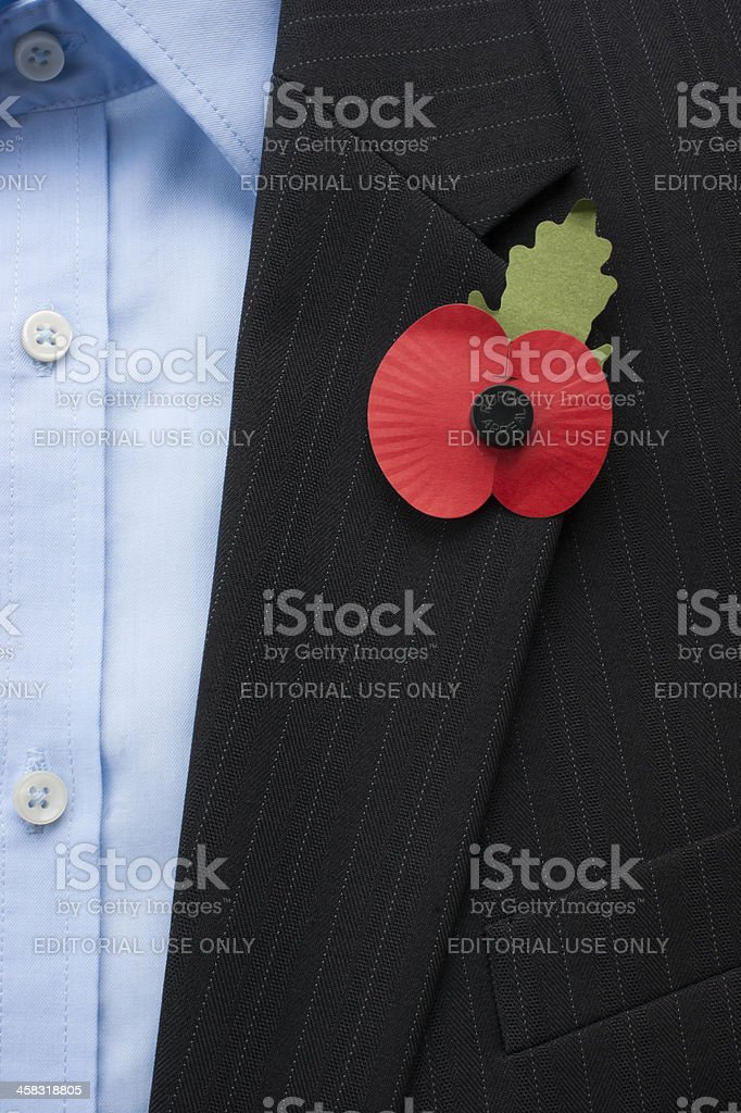 The Royal British Legion Poppy Appeal worn by a man. stock photo