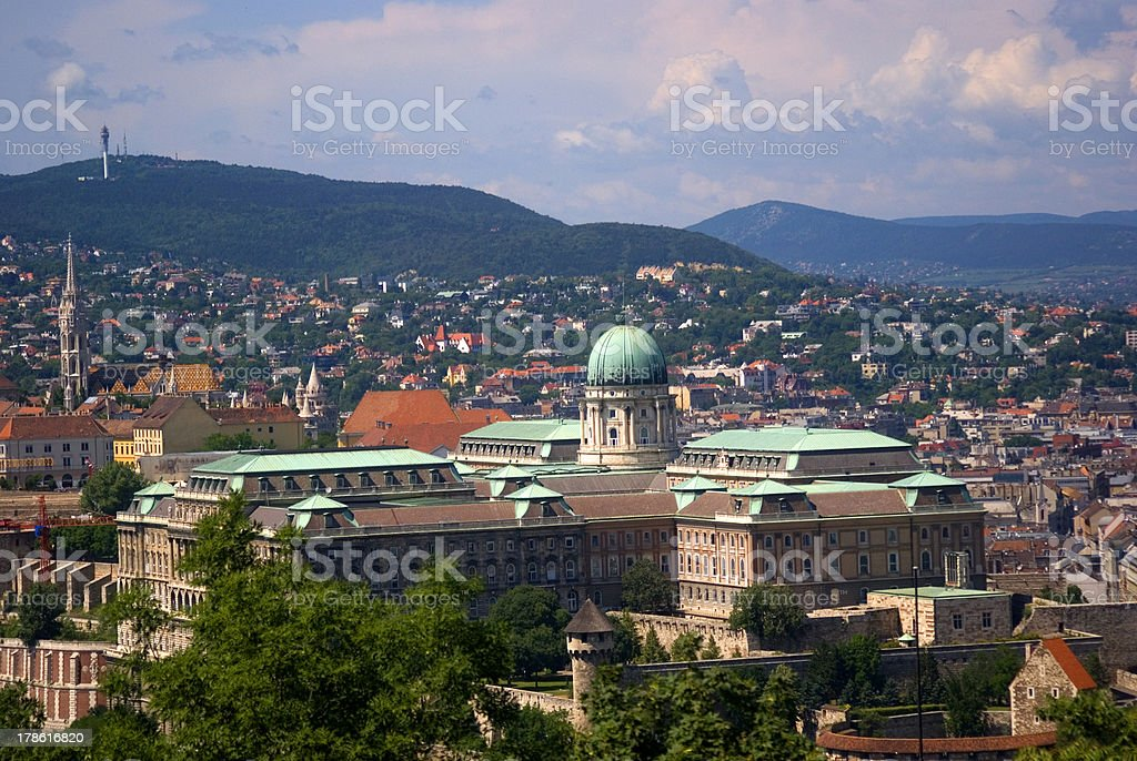 The Royal Castle seen from Gellert Hill, Budapest, Hungary royalty-free stock photo