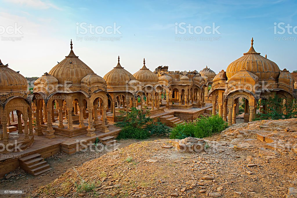 The royal cenotaphs Bada Bagh in Jaisalmer, India stock photo