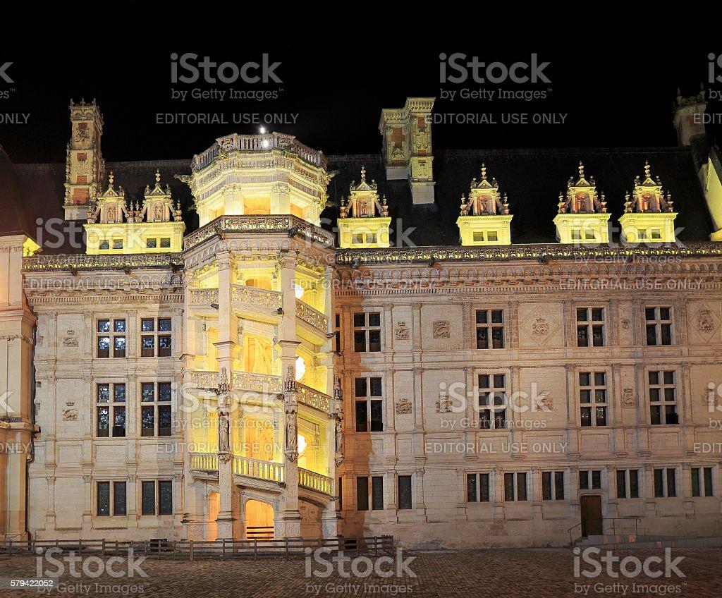 The Royal Chateau de Blois illuminated at night stock photo