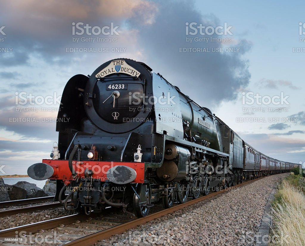 The Royal Duchy steam train passing Exe estuary in August stock photo