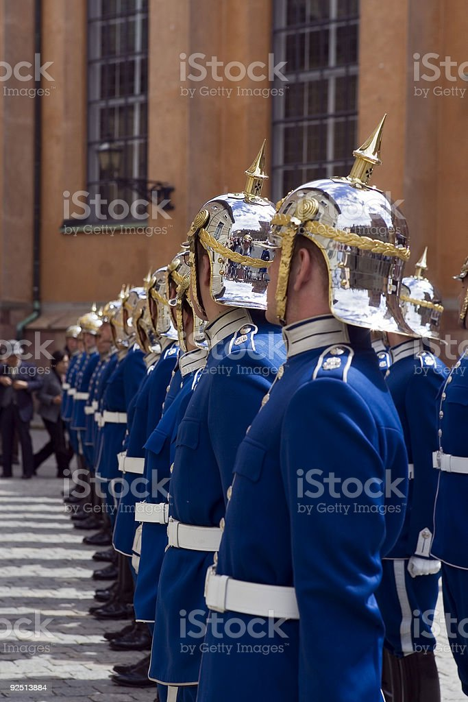 The Royal Guard at Stockholm, Sweden royalty-free stock photo