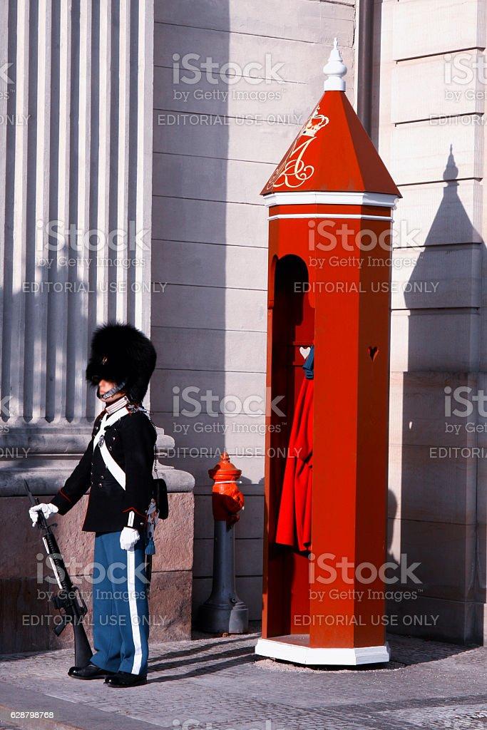 The Royal Guard in Copenhagen, Denmark stock photo