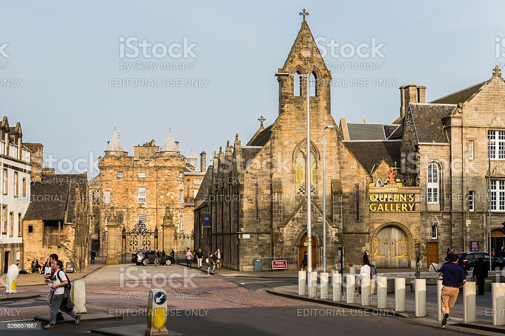 The Royal Mile and Palace of Holyroodhouse in Edinburgh, Scotland stock photo