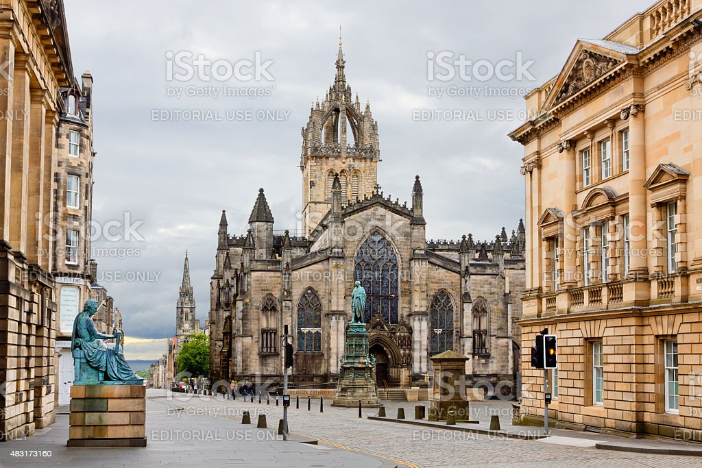 The Royal Mile with St Giles Cathedral, Edinburgh, United Kingdom. stock photo